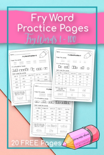 These Fry Word Practice Pages provide writing and reading practice for words 1 through 100. Free sight word practice from www.freewordwork.com.