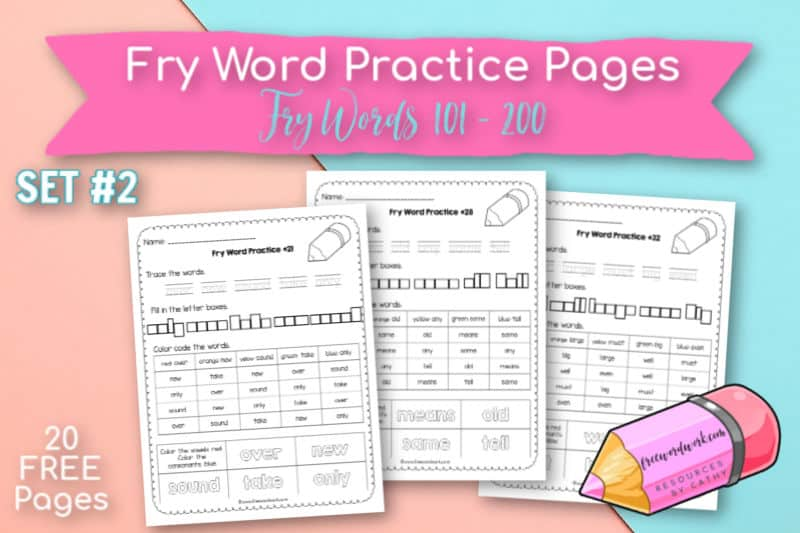 These Fry Word Practice Pages provide writing and reading practice for words 101 through 200.