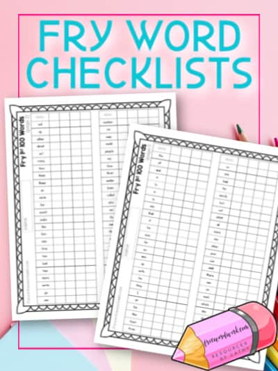 Free Fry Word Checklists