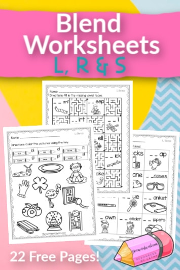 These free, printable blend worksheets will give your students practice with words containing L, R and S blends.