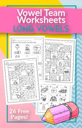These free, printable Vowel Team worksheets will give your students practice with long vowel words containing vowel teams.