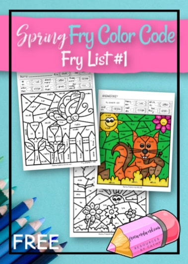 This Spring Fry Color Code set is a color by number set for Fry Word practice. A free set for teachers & homeschool from www.freewordwork.com.