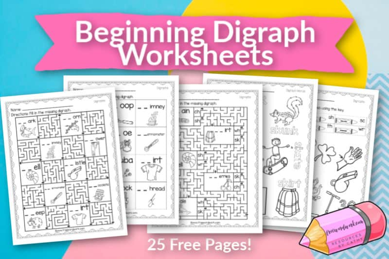 These free, printable beginning digraph worksheets will give your students practice with words beginning with ch, kn, ph, sc, sh, sk, th, tw, wh and wr.